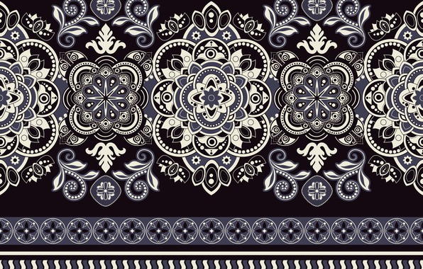 Picture white, blue, pattern, black background, ornament, pattern, seamless