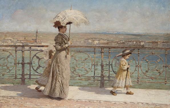 Picture Italian painter, Italian painter, oil on canvas, Walk on the New Bridge, Francesco Benaglio, Walk …