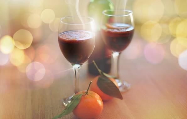 Picture wine, glasses, tangerines