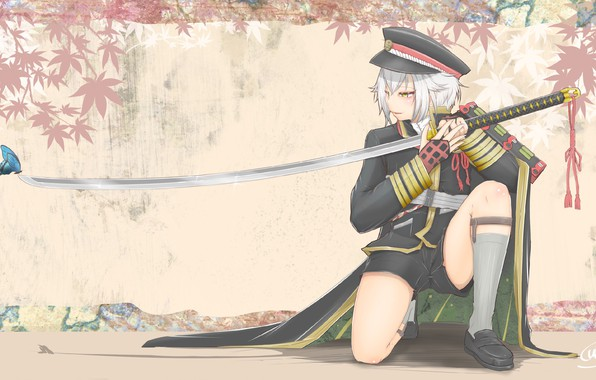 Picture butterfly, shorts, katana, boy, cap, white hair, military uniform, maple leaves, on my knees, Touken …