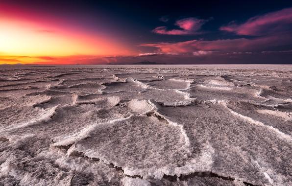 Picture sunset, lake, salt, Salar de uyuni, Bolivia