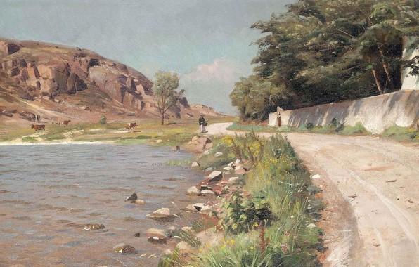 Picture 1918, Danish painter, Peter Merk Of Menstad, Peder Mørk Mønsted, Danish realist painter, A lady …