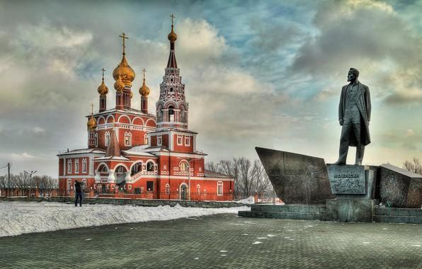 Picture winter, monument, Church, temple, Russia, Борис Бусыгин, Богоявленский собор, Курган