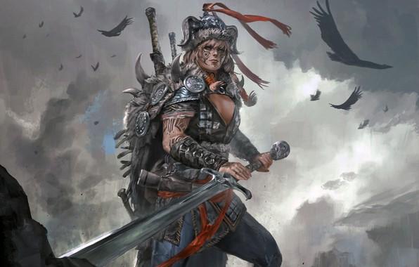 Wallpaper girl, art, sword, fantasy