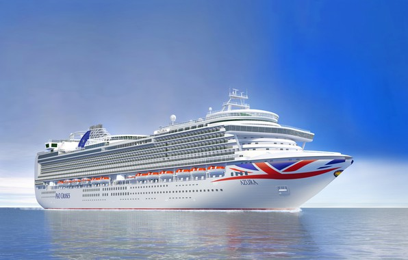 Picture The ocean, Sea, Liner, The ship, Rendering, Passenger ship, Azura, Cruise Ship, Passenger Ship, Cruise ...