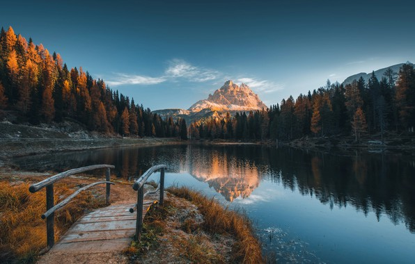 Picture frost, autumn, landscape, mountains, nature, lake, Alps, Italy, the bridge, forest, freezing, the Dolomites, Valentin …
