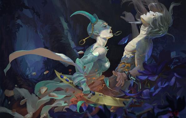 Picture magic, sword, horns, guy, demoness, art, closed eyes, in the woods, Fariba Khmseh