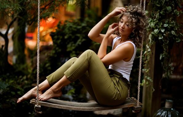 Photo wallpaper girl, swing, model, Jaclyn, Sergey Bidun