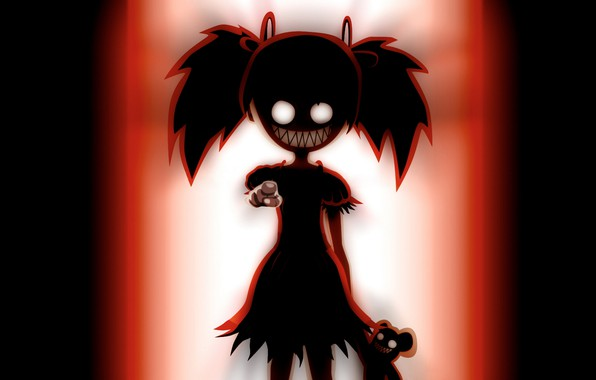 Picture monster, gesture, baby, horror, burning eyes, toothy, hell of a grin, black silhouette