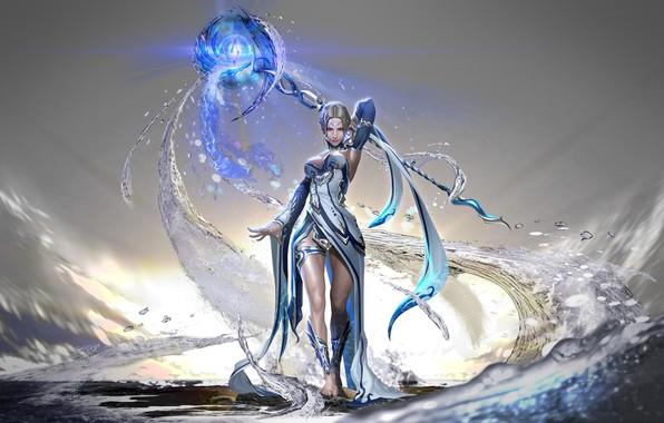 Picture light, girl, fantasy, dress, legs, breast, water, barefoot, Magic, digital art, artwork, fantasy art, chest, …