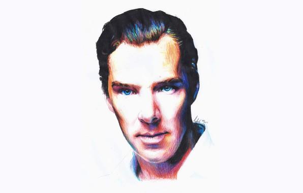 Picture figure, portrait, Benedict Cumberbatch, Benedict Cumberbatch, colored pencils