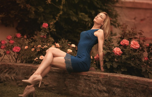 Picture flowers, pose, lawn, model, portrait, roses, makeup, garden, figure, slim, dress, hairstyle, blonde, shoes, legs, ...