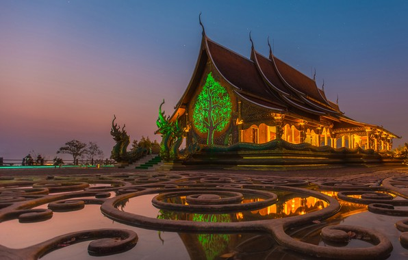 Picture the sky, water, design, lights, dragons, stars, the evening, Thailand, temple, Thailand, sculpture, Ratchathani Province