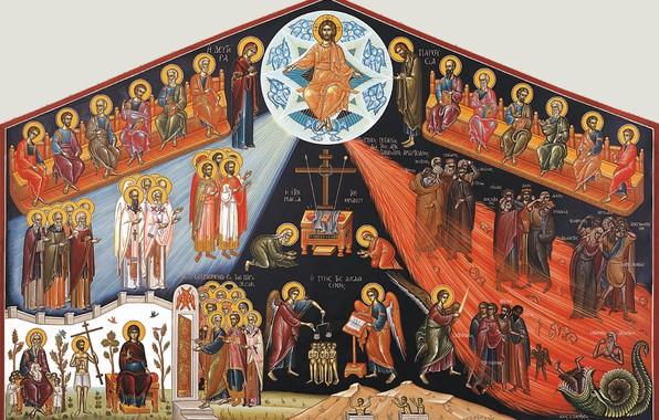 Picture Jesus, Paradise, heaven, saints, the apostles, saints, hell, god, Jesus, sinners, judgment, religious painting, archangels, …