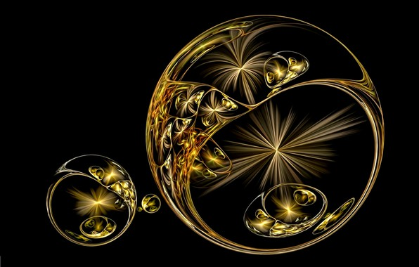Picture abstraction, rendering, fantasy, black background, picture, flash, lines of light, Golden spheres