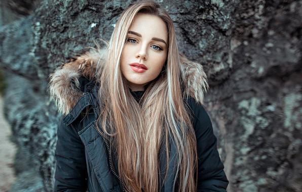 Picture look, stones, background, model, portrait, makeup, jacket, hairstyle, blonde, Silvia, beauty, bokeh, John Noe