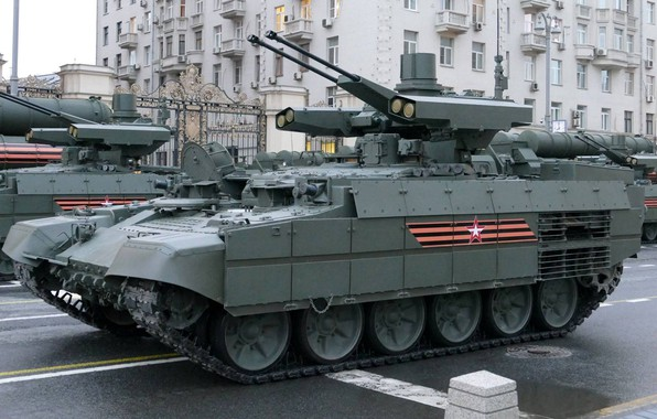 Picture Moscow, Terminator, BMPT, the fighting vehicle of support of tanks, Tverskaya street, rehearsal of the …