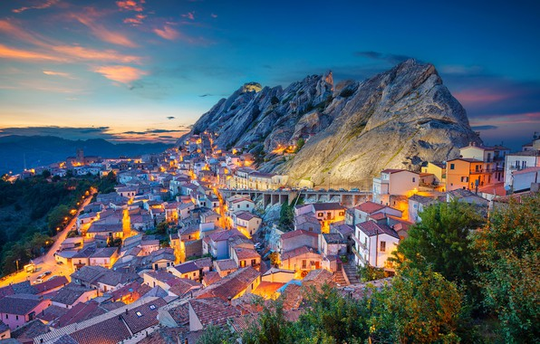 Picture sunset, mountains, building, home, Italy, panorama, Italy, Basilicata, Basilicata, Peyrepertuse, Pietrapertosa