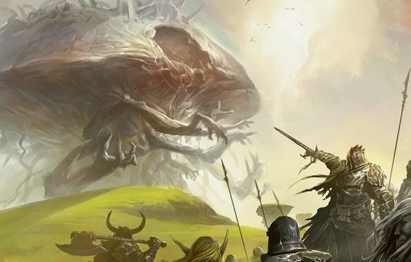 Picture fantasy, Monster, armor, weapons, digital art, artwork, warriors, swords, fantasy art, spears, creature, pearls