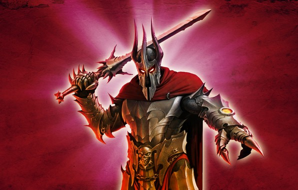 Picture red, background, sword, Overlord, armor, Lord