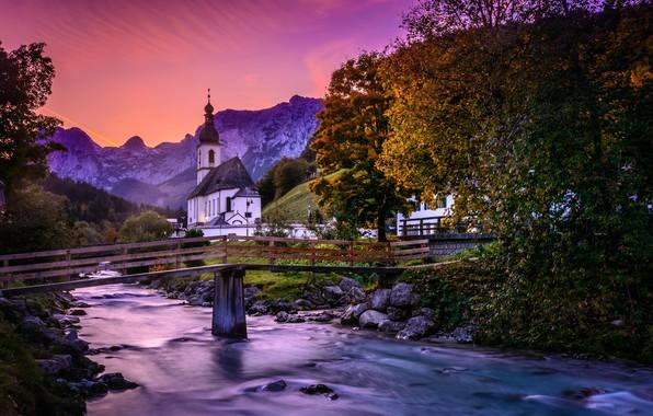 Picture autumn, trees, mountains, bridge, river, Germany, Bayern, Church, Germany, Bavaria, Bavarian Alps, The Bavarian Alps, …