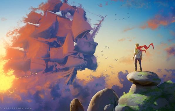 Picture fantasy, sky, clouds, rocks, birds, alone, man, artist, ship, artwork, fantasy art, sailing ship, Sylvain …