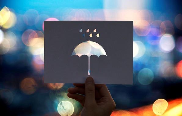 Picture umbrella, card, bokeh