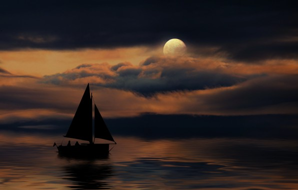 Picture night, the moon, boat