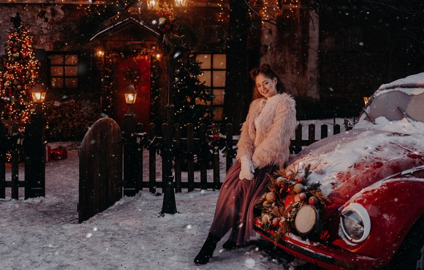 Picture machine, auto, look, girl, snow, pose, smile, mood, the fence, Christmas, New year, tree, chubaka, …