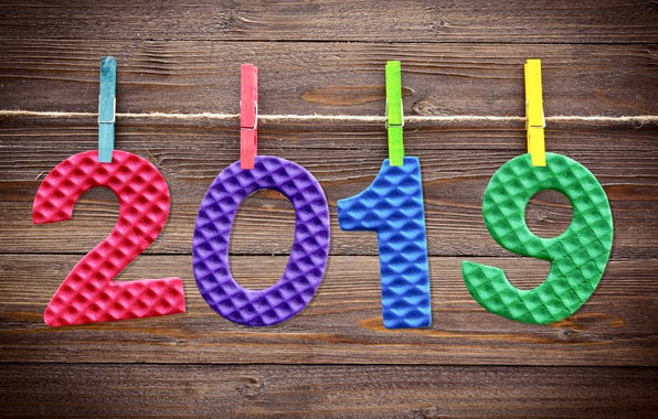 Picture background, colorful, New Year, figures, wood, background, New Year, Happy, 2019