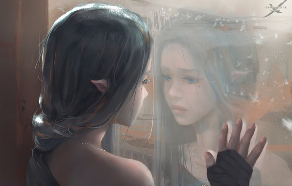 Picture girl, fantasy, blue eyes, mood, sadness, braid, window, face, elf, reflection, digital art, artwork, princess, …