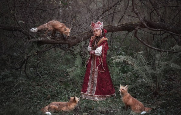 Picture forest, girl, outfit, Fox, Princess, Sophia Oznobishina