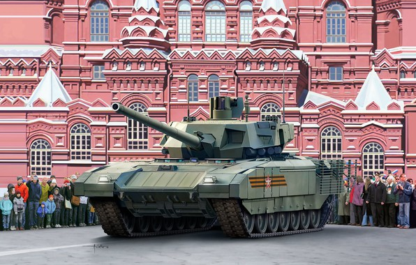 """Picture art, tank, Moscow, Red square, May 9, State historical Museum, The Russian army, T-14 """"Armata"""", …"""