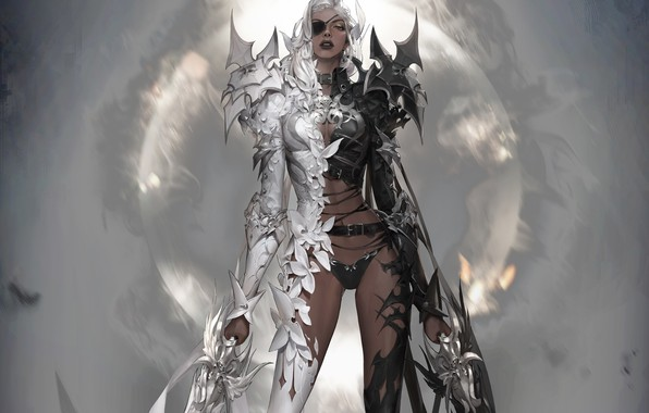 Picture look, girl, weapons, angel, the demon, fantasy, art