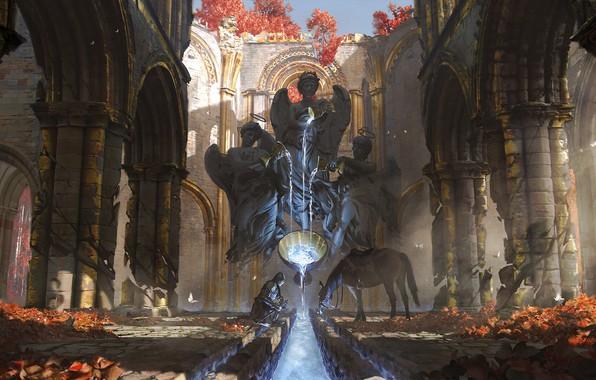 Picture sword, fantasy, armor, weapon, water, angels, ruins, horse, digital art, artwork, environment, warrior, fantasy art, …