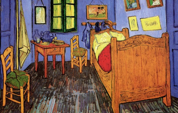 Picture table, room, bed, chairs, window, Vincent van Gogh, portraits, Vincent s Bedroom in Arles