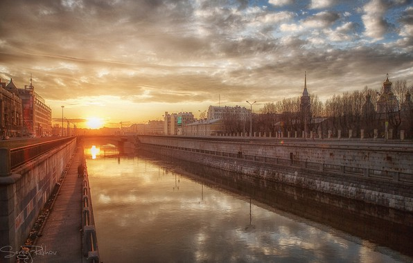 Picture the sky, dawn, Saint Petersburg, channel, Sergey Rehob
