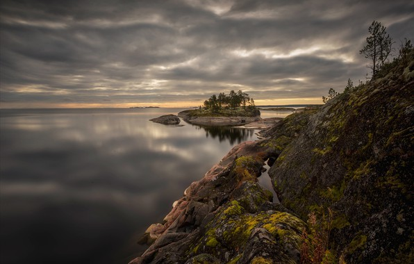 Picture landscape, clouds, nature, lake, stones, Lake Ladoga, Karelia, Ladoga, Vaschenkov Pavel, Skerries