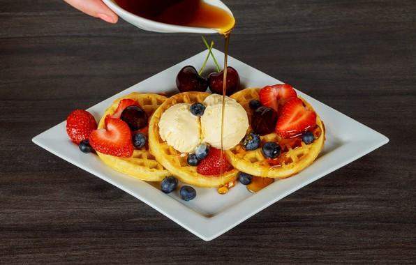 Picture cherry, berries, background, oil, food, blueberries, strawberry, plate, honey, cream, dessert, jet, cherry, waffles, sweet, …