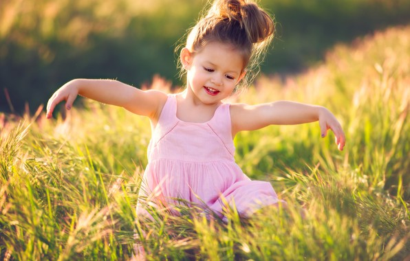 Picture field, summer, joy, nature, dress, girl, grass, baby, child, ponytail, Edie Layland