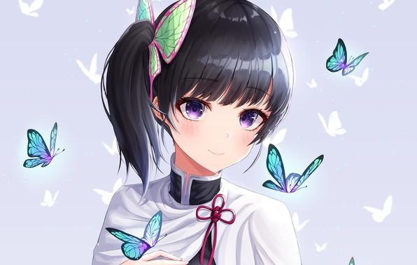Picture girl, butterfly, The Blade Cleaves Demons, Kanao Tsuyuri