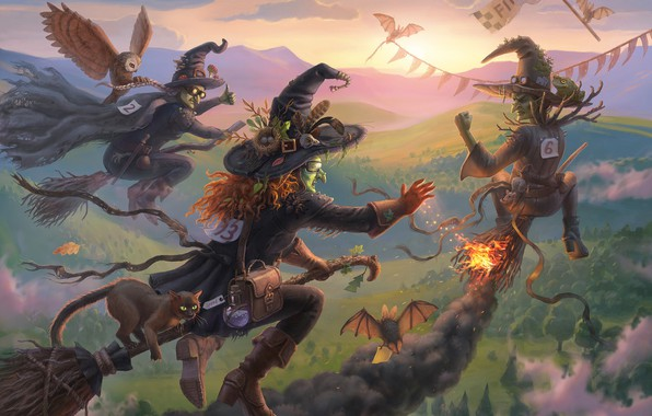 Picture cat, owl, competition, art, race, flight, witch, broom, children's, Nelly Amosova, Witch race