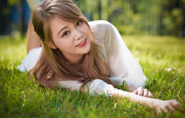 Picture grass, girl, smile, beautiful, looks