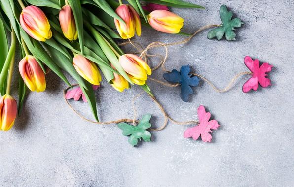 Wallpaper butterfly, tulips, flowers, tulips, butterflies ...