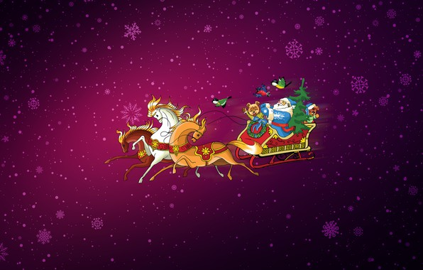 Picture Minimalism, Snow, Christmas, Snowflakes, Background, New year, Horse, Horses, Holiday, Art, Santa Claus, Christmas, Art, …