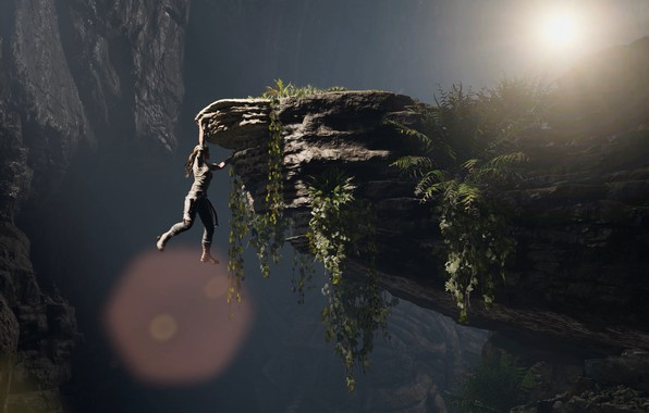 Picture Girl, Open, Rocks, Square Enix, Lara Croft, Hanging, Ice pick, Shadow of the Tomb Raider