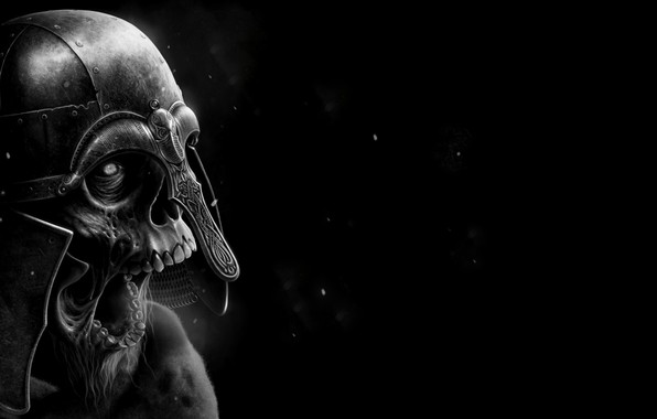 Picture Skull, Helmet, Black background, Coppergate