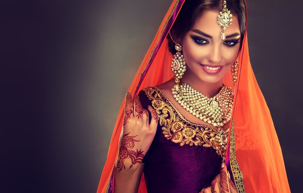 Picture look, girl, decoration, smile, style, makeup, Beautiful, woman, Indian, saree, Sofia Zhuravets'