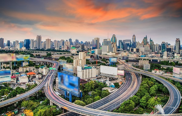 Picture the city, building, road, advertising, Thailand, Bangkok, screens