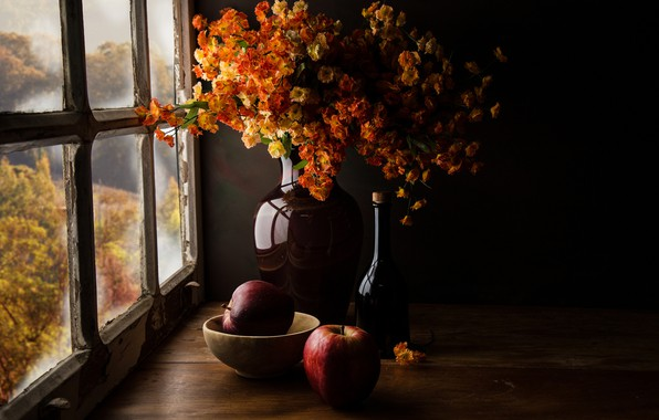 Picture autumn, glass, light, flowers, the dark background, table, wall, apples, Board, view, bottle, bouquet, yellow, …